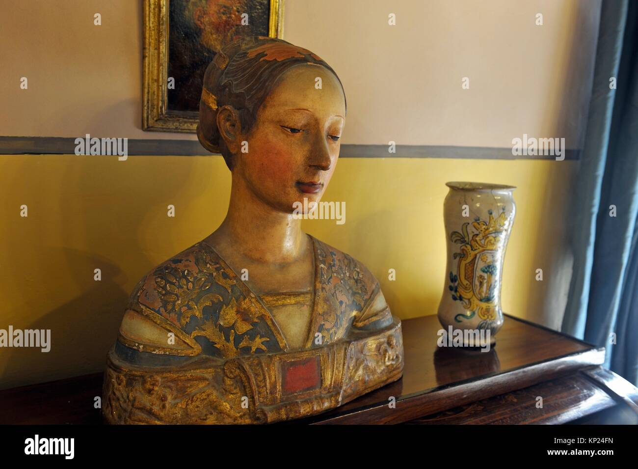 polychrome bust of woman at the Casa Rocca Piccola, Valletta, Malta, Southern Europe. - Stock Image