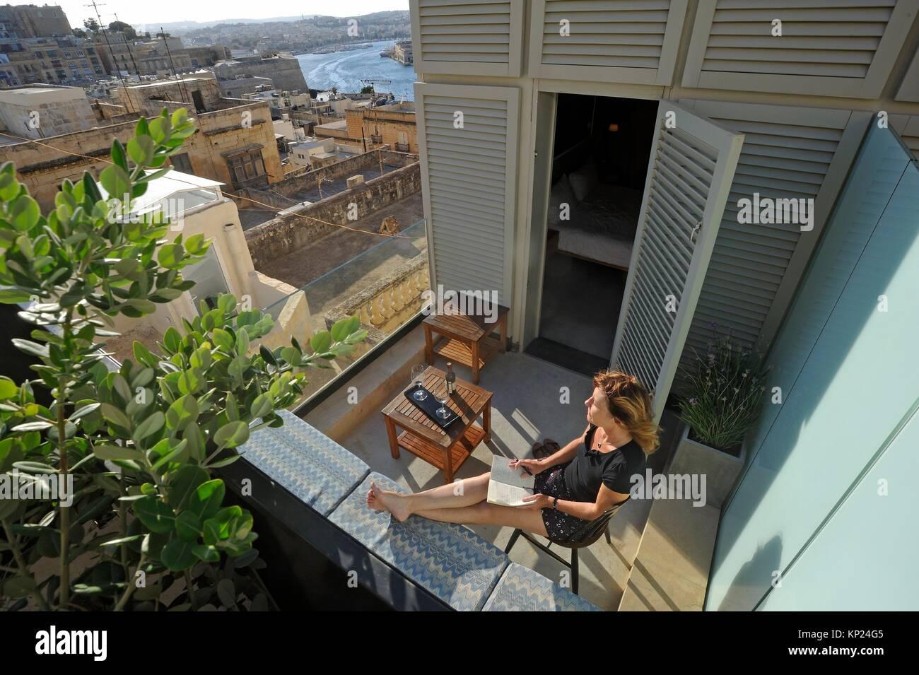 Casa Ellul Hotel, Old Theatre Street, Valletta, Malta, Southern Europe. - Stock Image