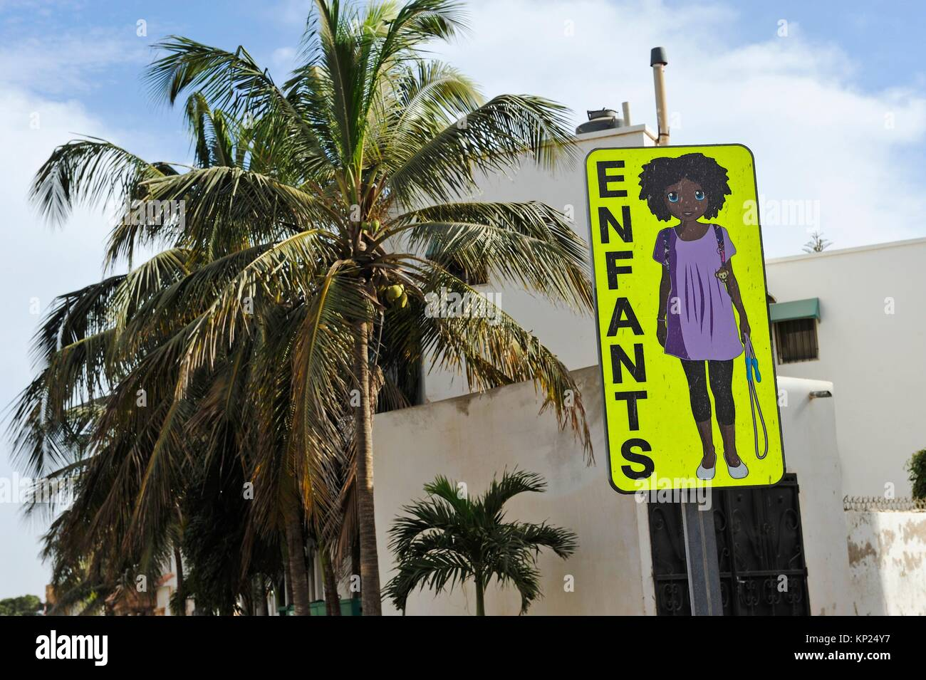 warning road sign, Dakar, Senegal, West Africa. - Stock Image