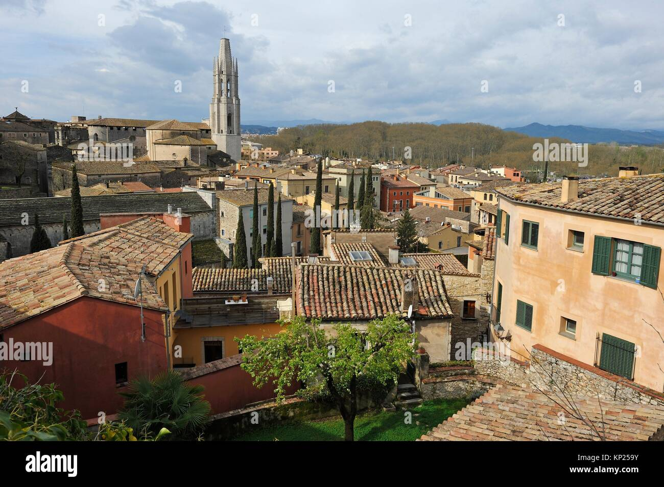 overview of Girona seen from the ramparts, Catalonia, Spain, Europe. - Stock Image