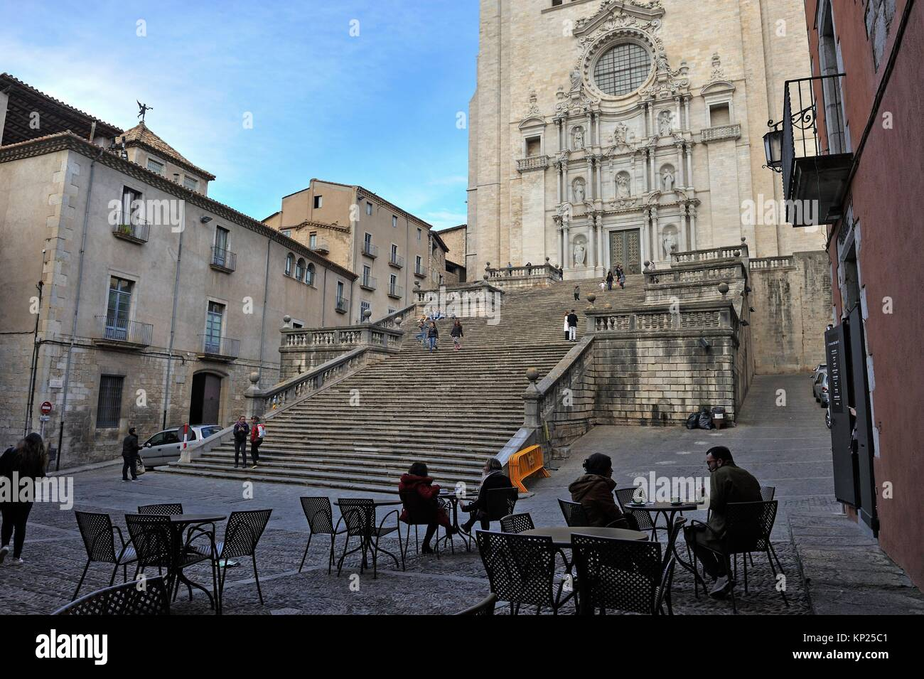 outside cafe on square at the foot of the Cathedral, Girona, Catalonia, Spain, Europe. - Stock Image