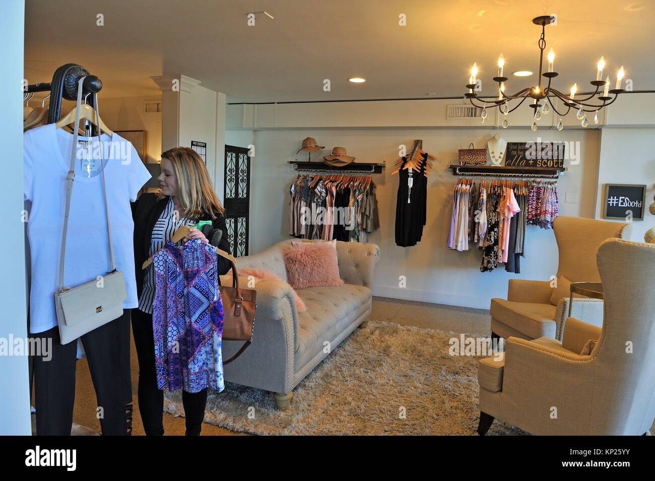 Ella+Scott fashion shop in the Milfred Building, Beaumont, Texas, United States of America, North America Stock Photo
