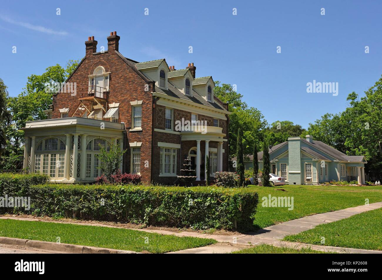 forested good residential area around Calder Avenue, Beaumont, Texas, United States of America, North America - Stock Image