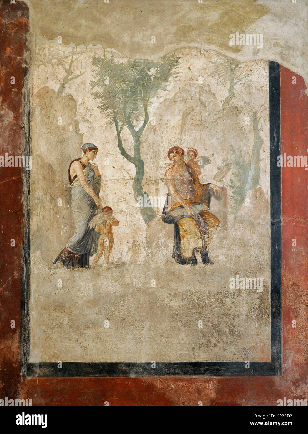 Roman fresco depicting Eros  carried by Peitho, the persuasion, before Anteros and Venus. 1st century AD. House - Stock Image