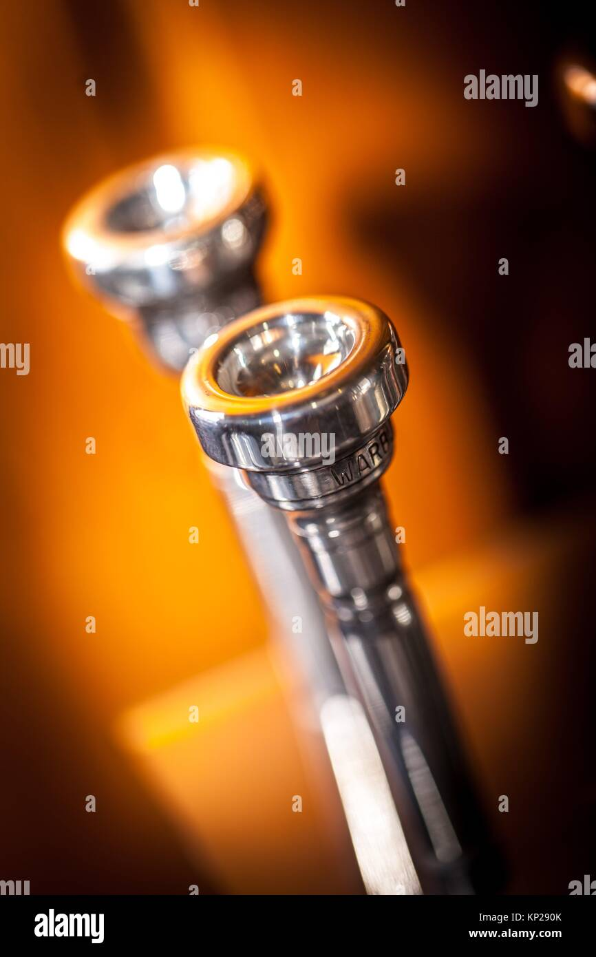 closeup detail of a trumpet mouthpiece - Stock Image