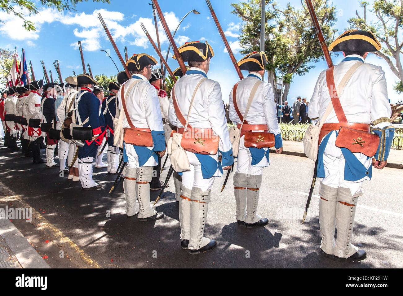 Staging of 25th july 1797 british army defeat during the Tenerife island invasion - Stock Image