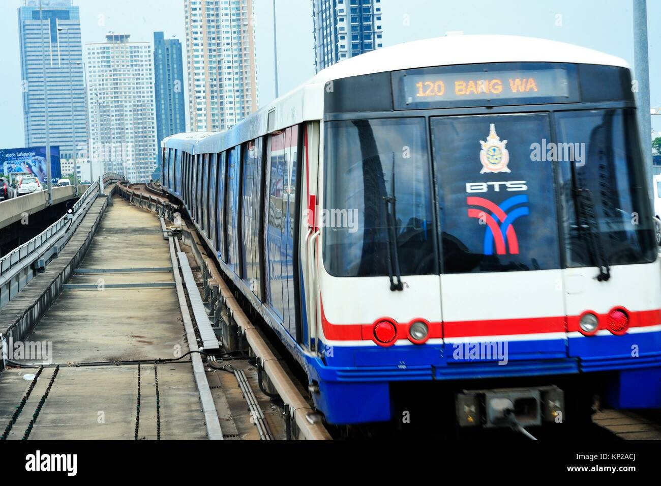 Saphan Taksin skytrain (BTS) station, Bangkok, Thailand. Stock Photo