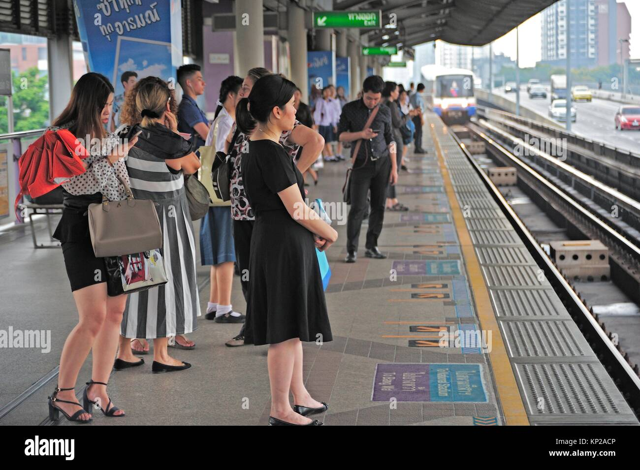 Saphan Taksin skytrain (BTS) station, Bangkok, Thailand. Stock Photo