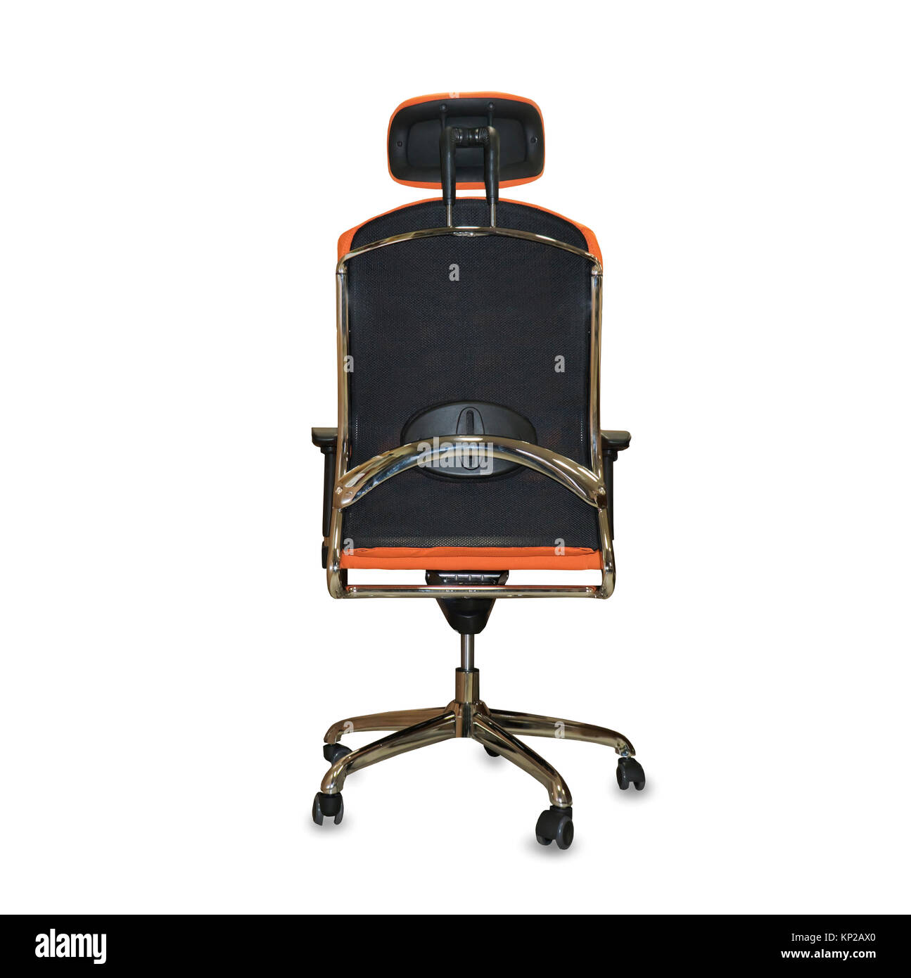 back view of modern office chair from orange cloth isolated stock