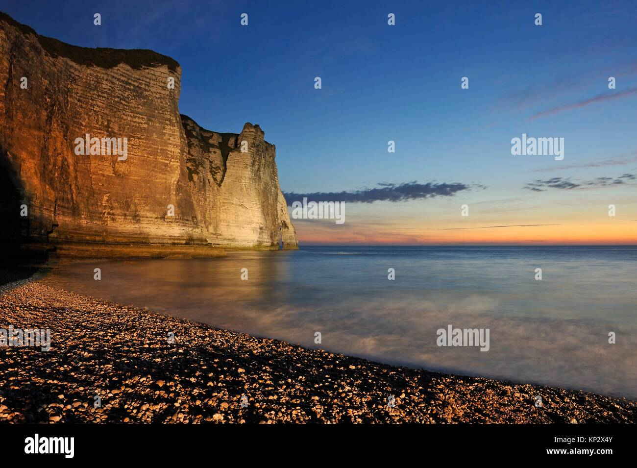 floodlit cliff, Etretat, Seine-Maritime department, Normandie region, France, Europe. - Stock Image