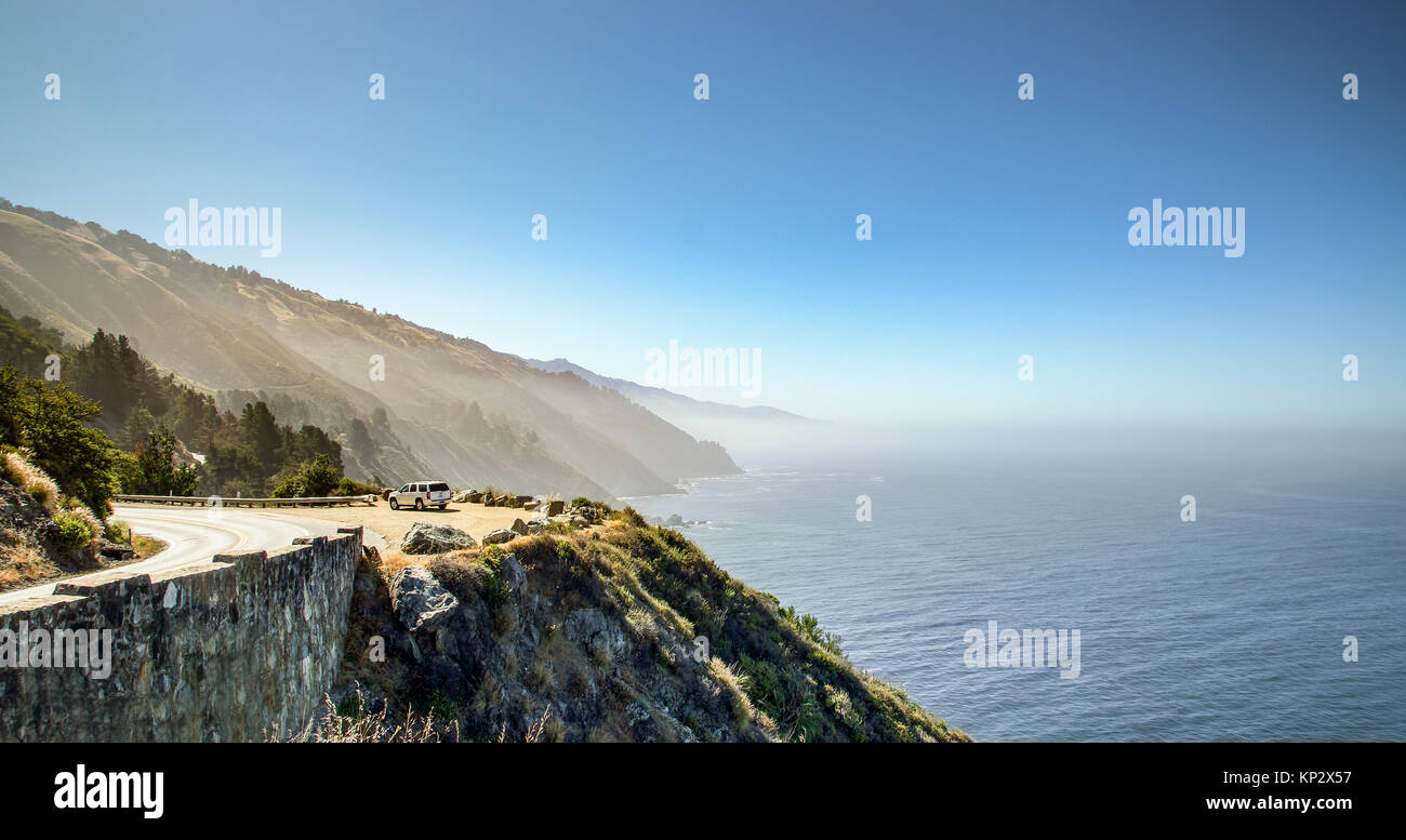 Landscape view Highway A1 on the Pacific Ocean Stock Photo