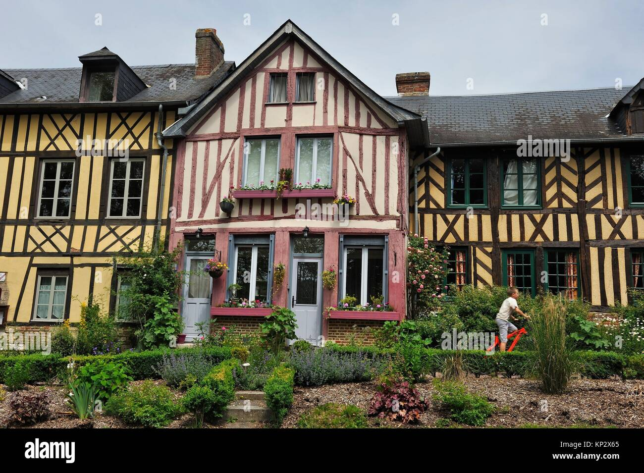 half-timbered houses along the main street of Bec-Hellouin, labelled Les Plus Beaux Villages de France, Eure department, - Stock Image