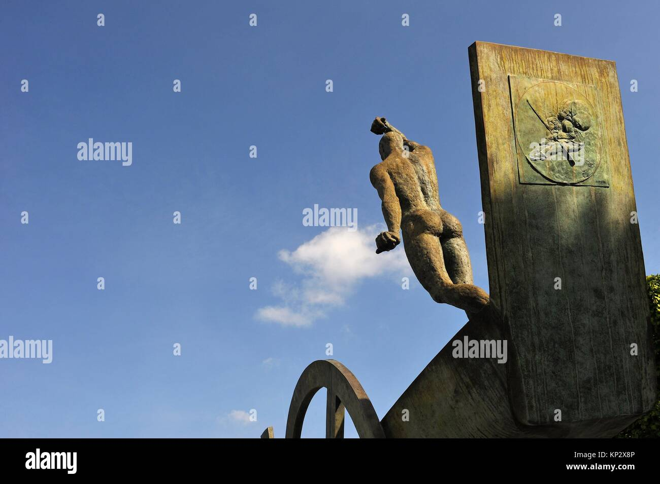 ´Barque Solaire´ work by the Franco-Czech sculptor Karel Zlin in the garden of the Chateau de Rambouillet, - Stock Image