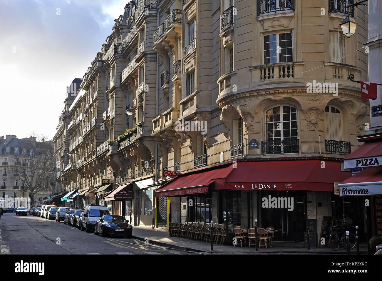Rue Dante, 5th Arrondissement, Paris, France, Europe. - Stock Image