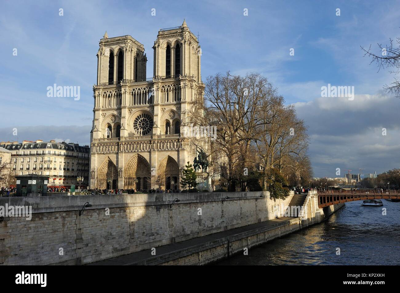 Notre-Dame Cathedral and Seine River, Paris, France, Europe. - Stock Image