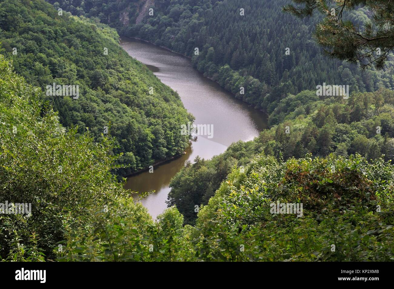 lake of Fades-Besserve bisected by the Sioule River, Puy-de-Dome department, Auvergne-Rhone-Alpes region, France, - Stock Image