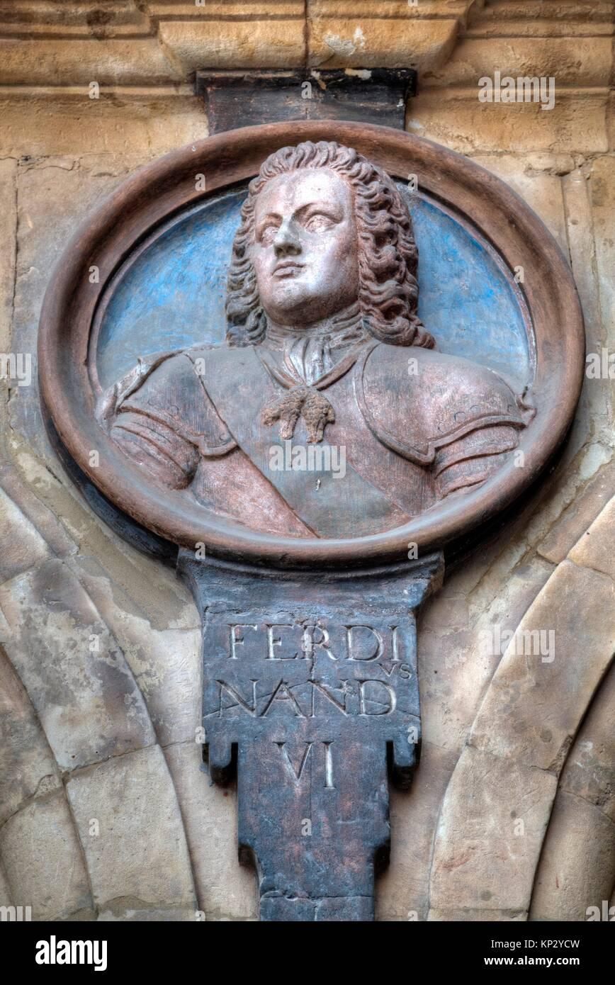 Medallion of King Ferdinand, Plaza Mayor, Salamanca, UNESCO World Heritage Site, Spain - Stock Image