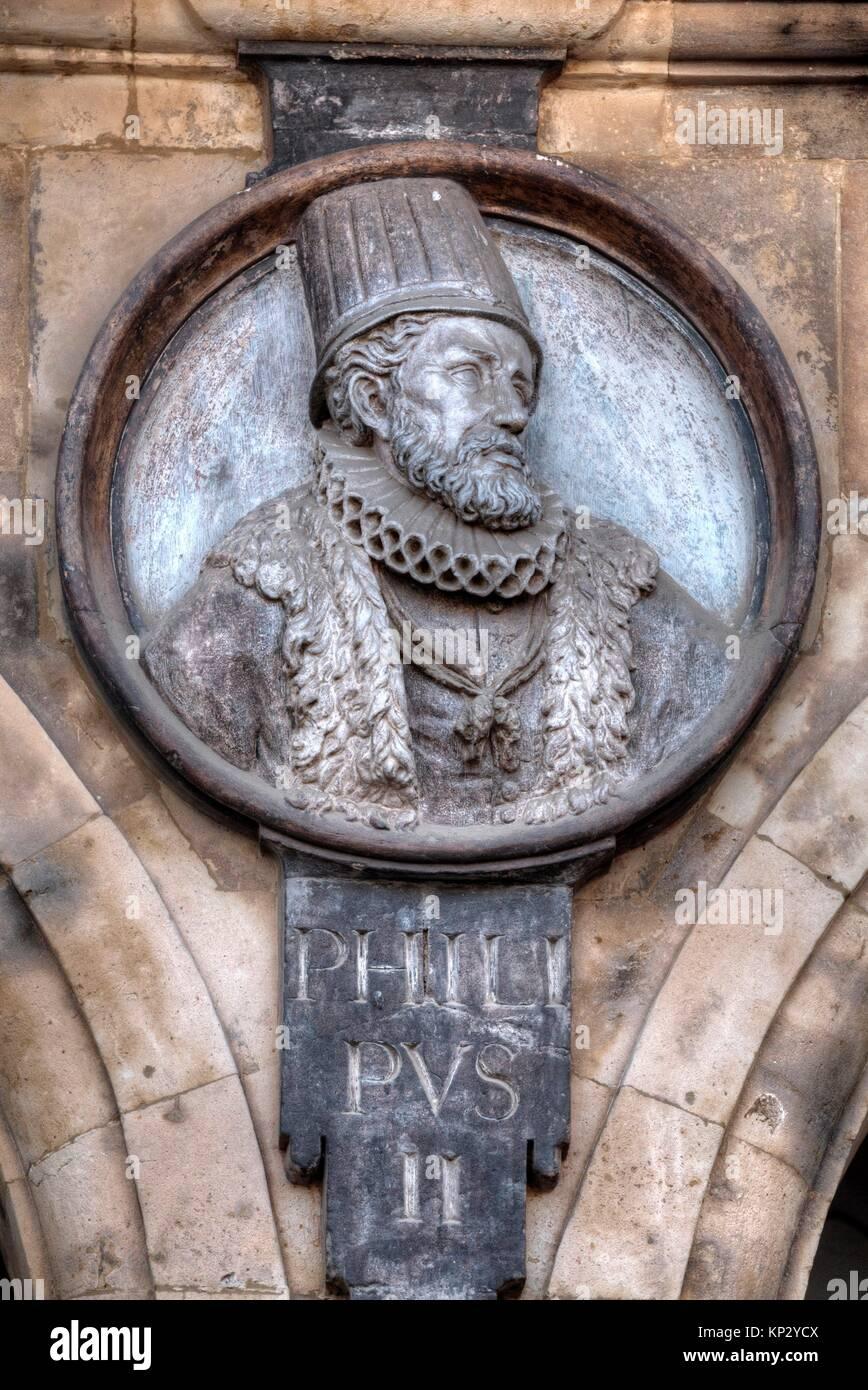 Medallion of King Philip II, Plaza Mayor, Salamanca, UNESCO World Heritage Site, Spain Stock Photo