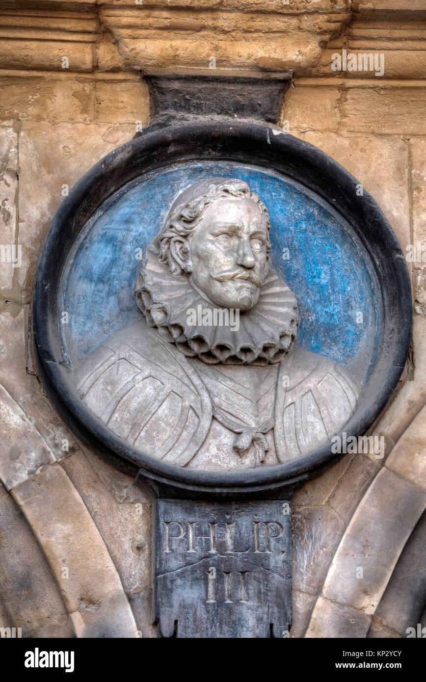 Medallion of King Philip III, Plaza Mayor, Salamanca, UNESCO World Heritage Site, Spain - Stock Image