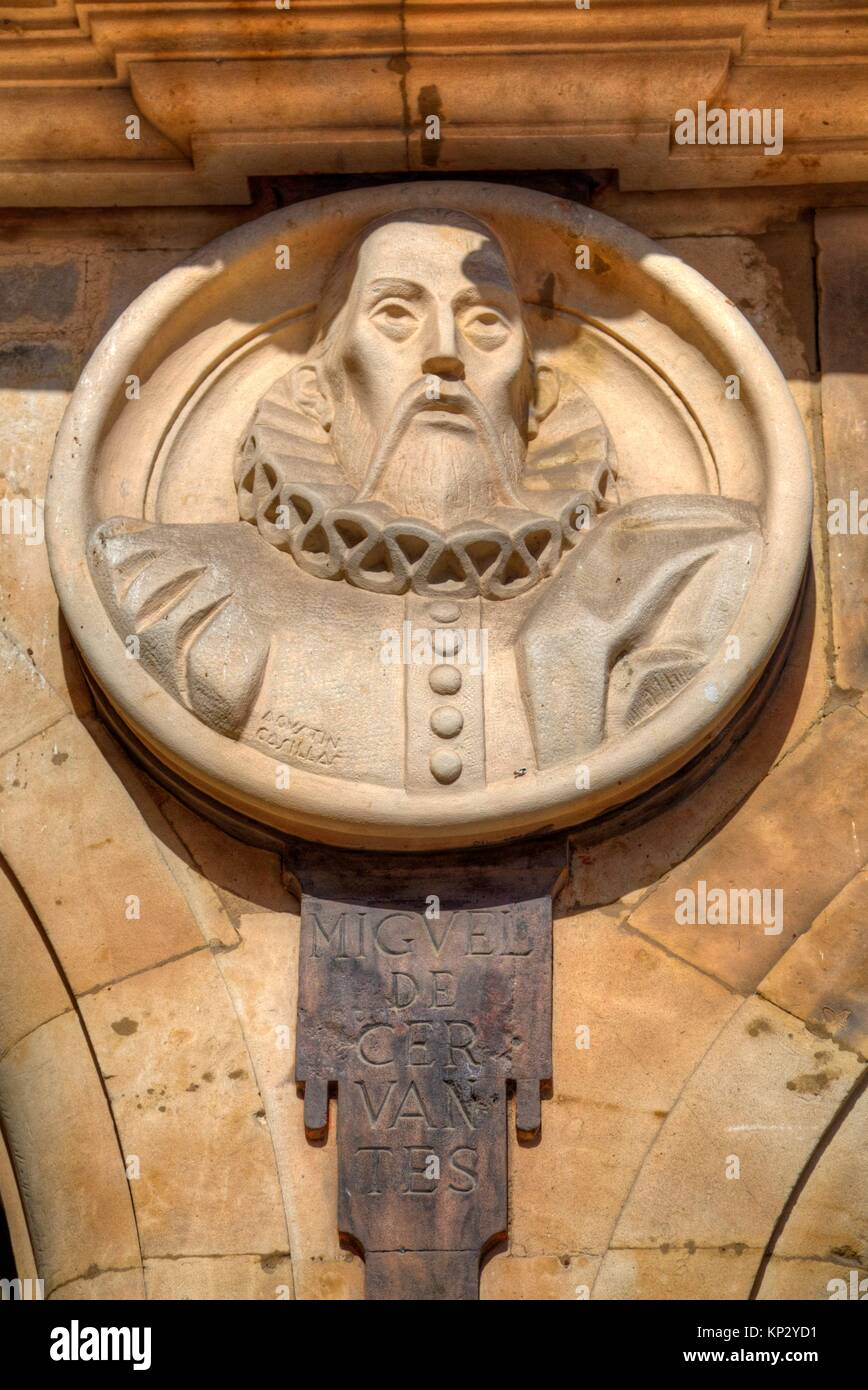 Medallion of Cervantes, Plaza Mayor, Salamanca, UNESCO World Heritage Site, Spain - Stock Image