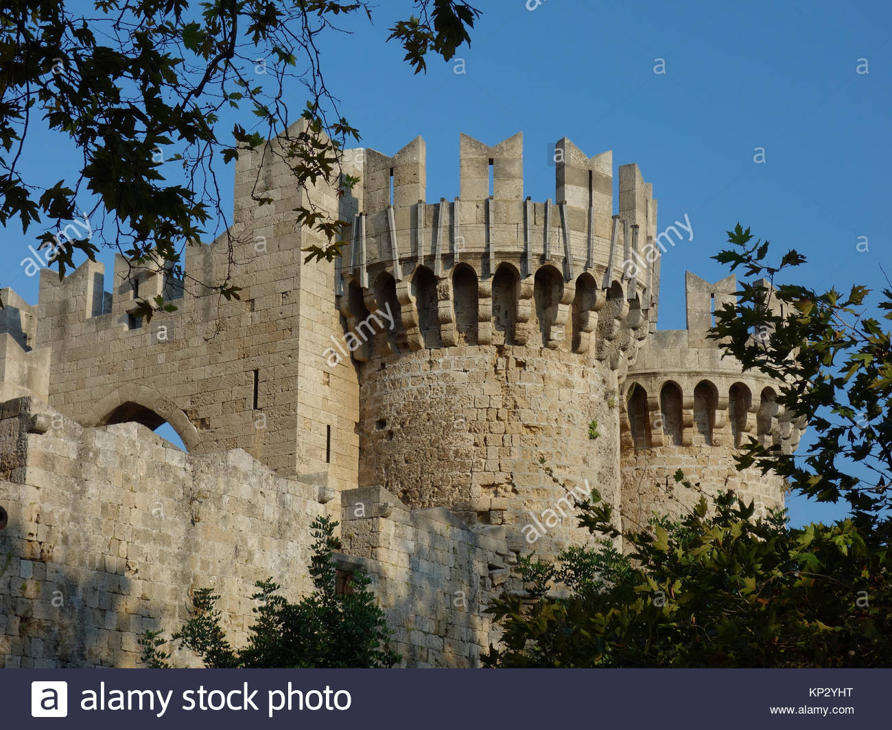 Europe, Greece, Rhodes Island, View Of Medieval Castle In Rhodes