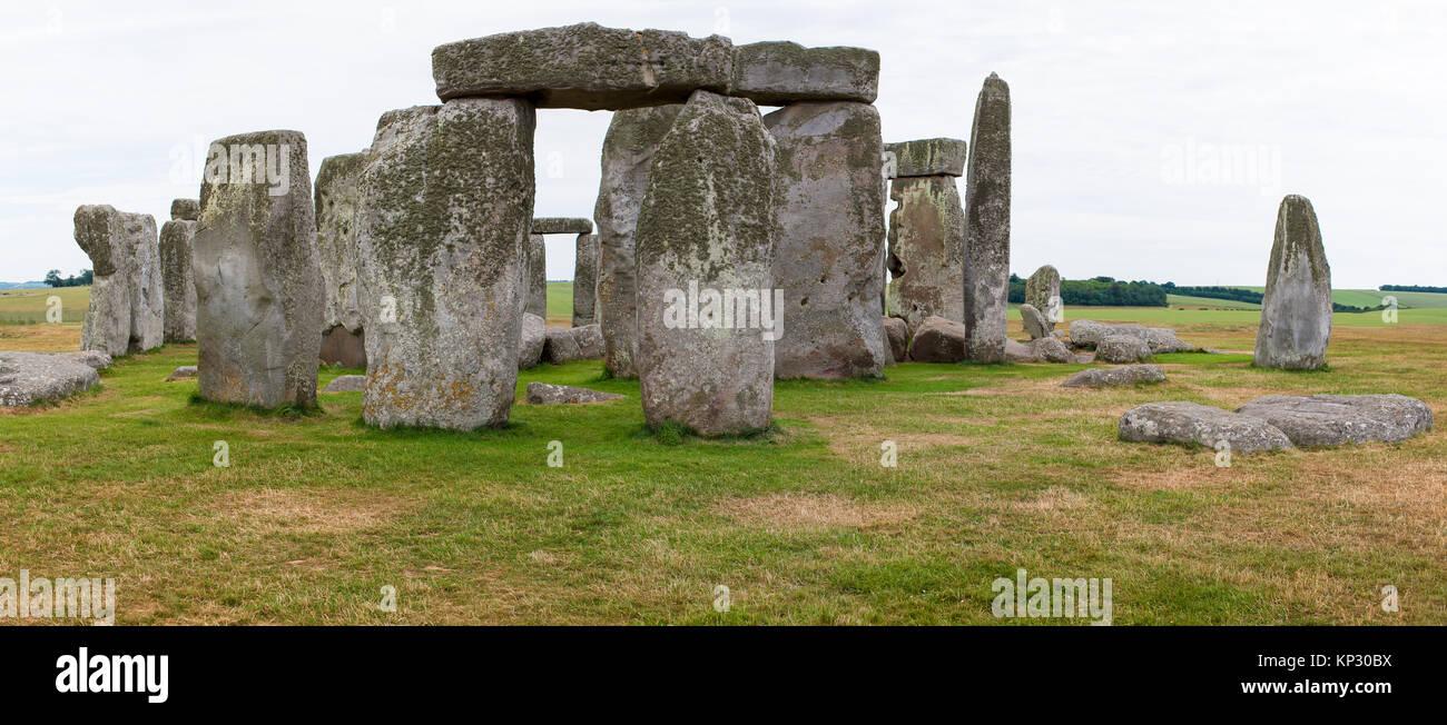 Stonehenge, Salisbury Plains, England, Neolithic monument made of large stones in circular arrangement - Stock Image