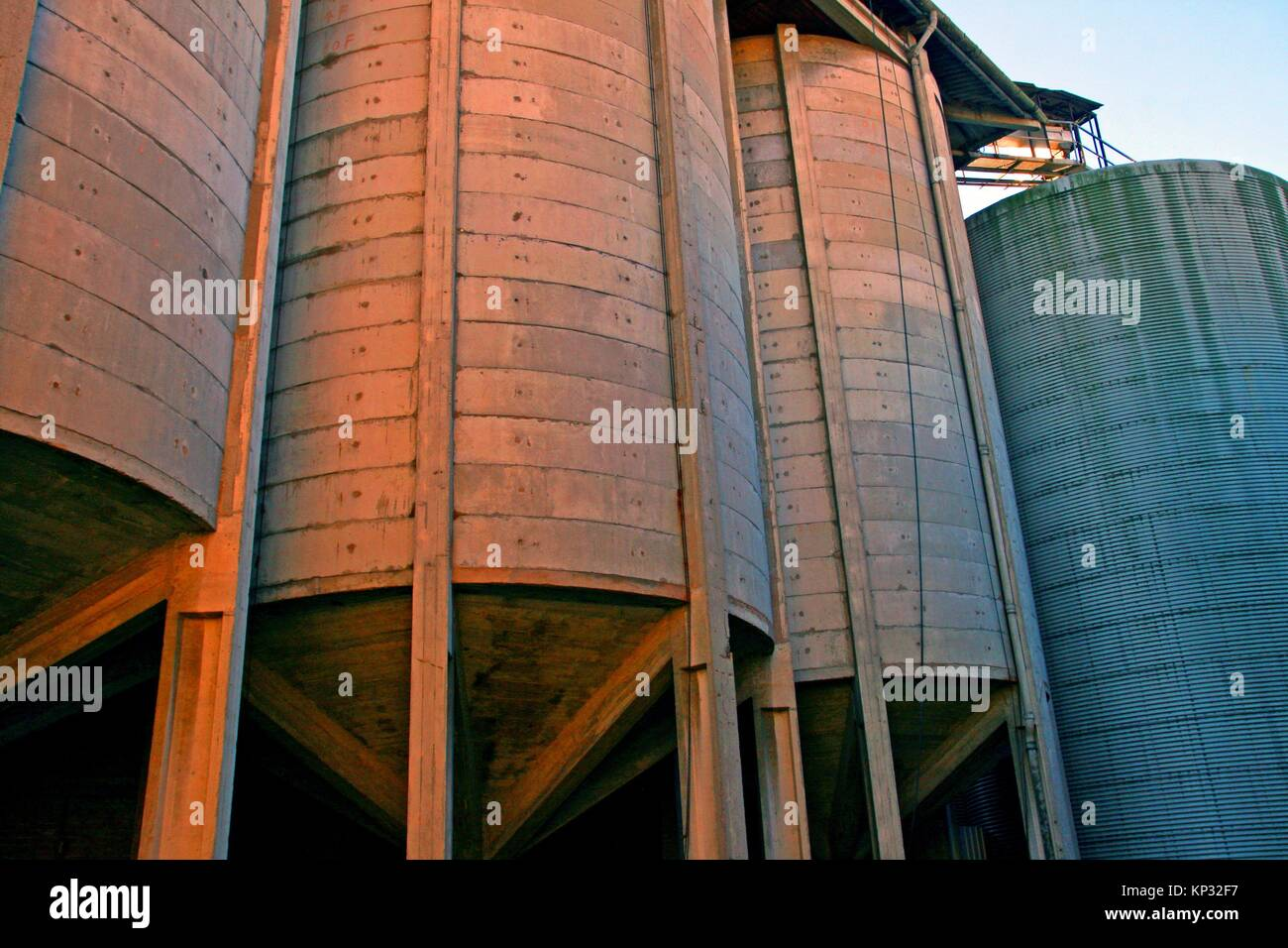 Agricultural silos, Vic, Catalonia, Spain - Stock Image