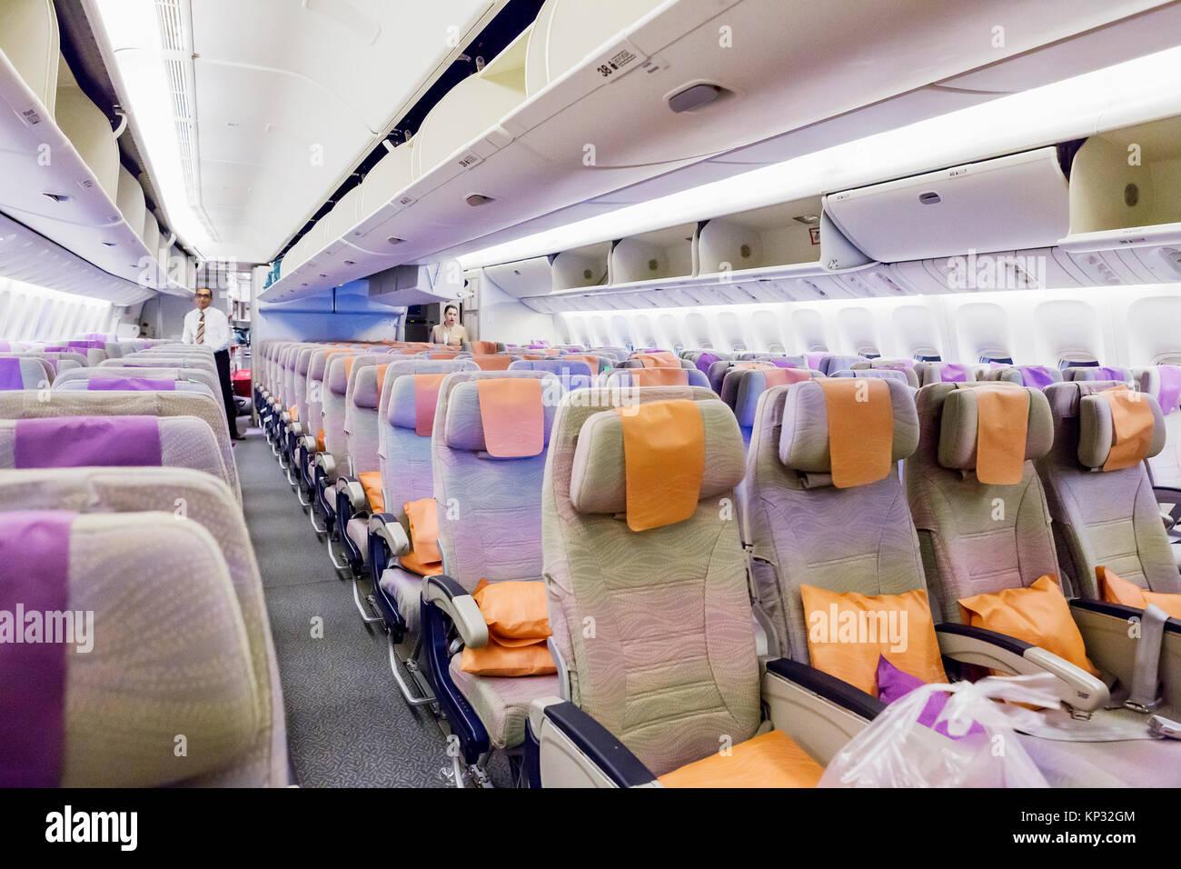 Emirates plane seat stock photos emirates plane seat for Boeing 777 interior