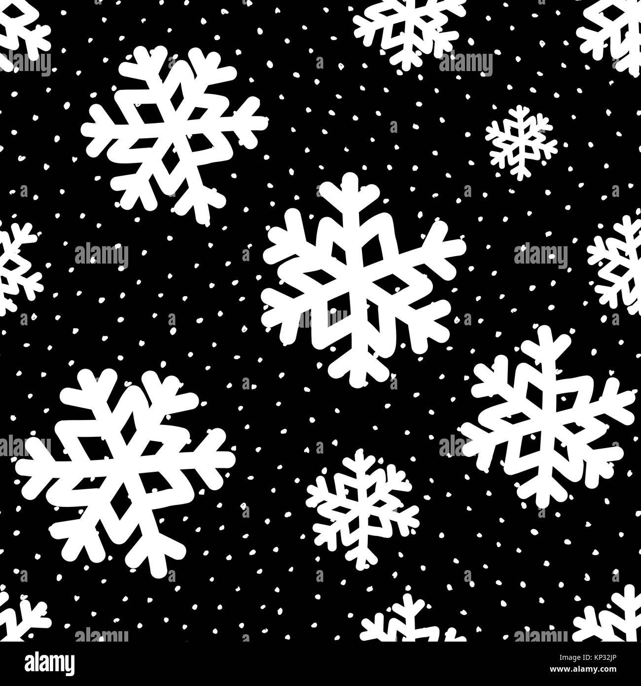 seamless repeating pattern with white snowflakes on black background KP32JP