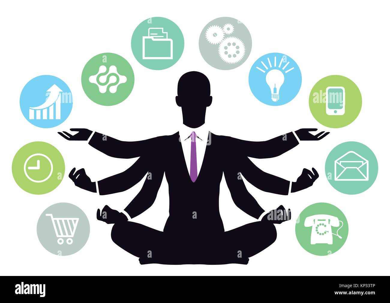 Successful businessman manages the business - Stock Vector