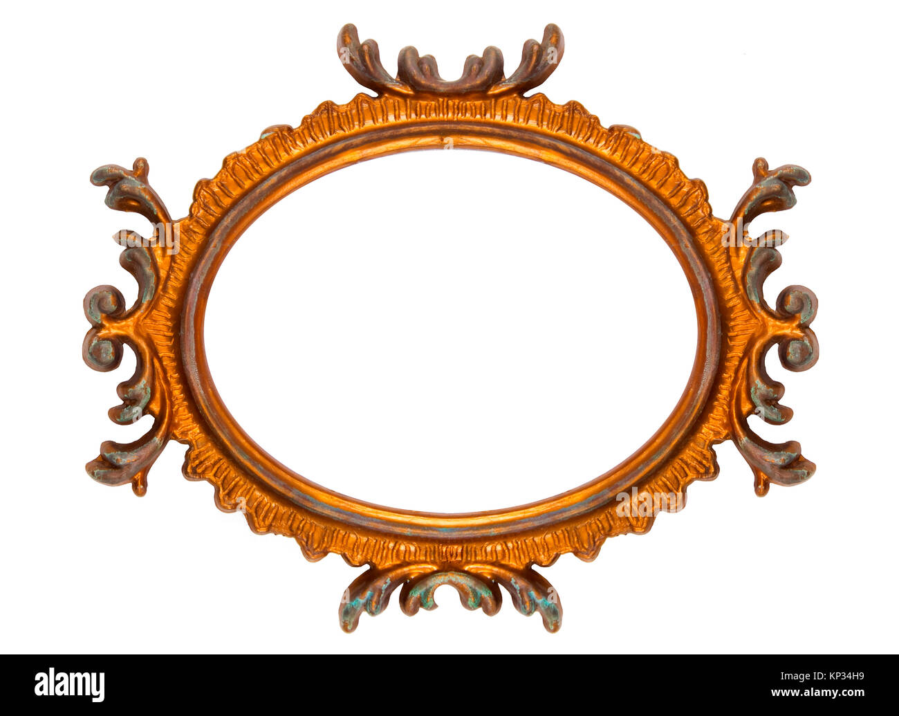 Old Ovall Picture Frame on white background - Stock Image