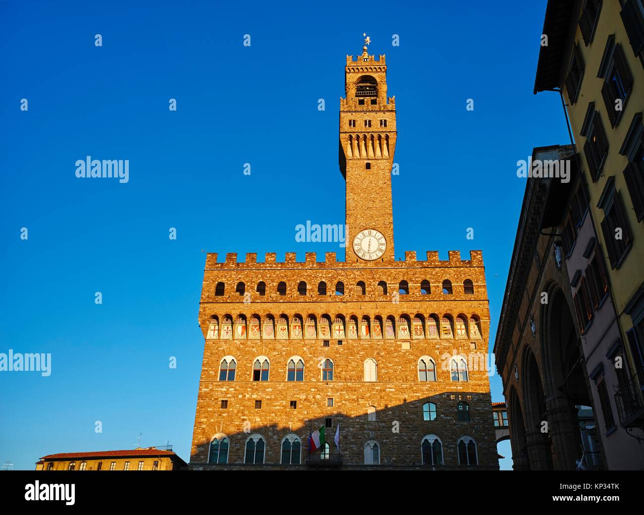 The Palazzo Vecchio (´Old Palace´) is the town hall of Florence, Italy. It overlooks the Piazza della - Stock Image