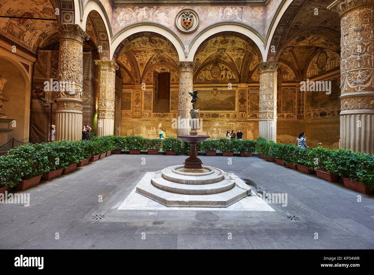 The inner courtyard of the Palazzo Vecchio (Old Palace), Florence, Italy. The Palazzo Vecchio is the town hall of - Stock Image