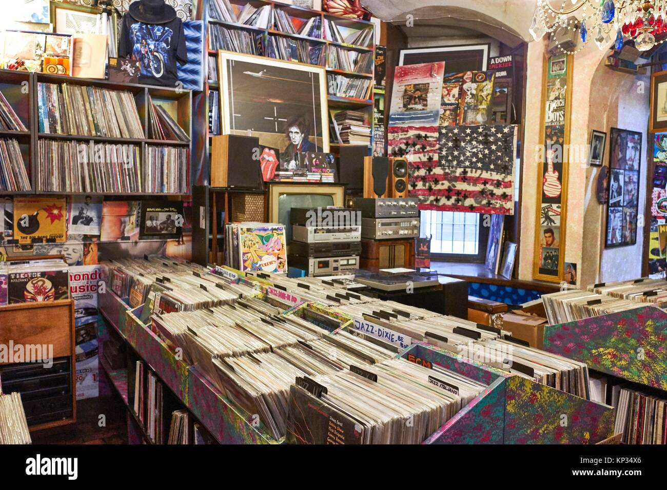 The largest shop of vinyl records in Florence, Italy Stock