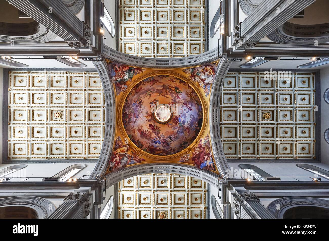 The Basilica di San Lorenzo (Basilica of St Lawrence) is one of the largest churches of Florence, Italy, situated - Stock Image