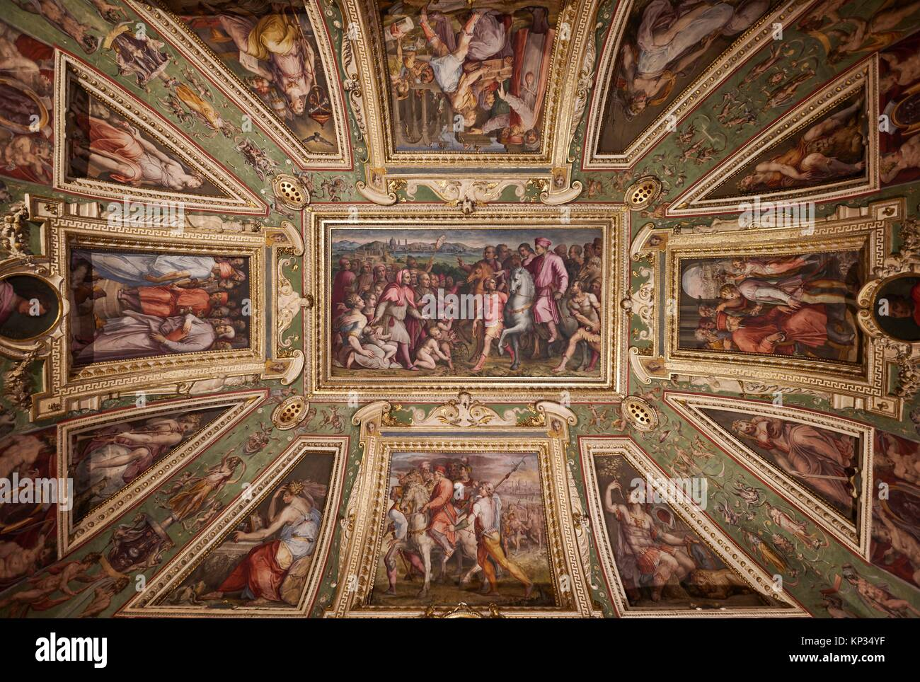 Decorated ceiling inside Palazzo Vecchio (Old Palace), by Giorgio Vasari, Florence, Italy Stock Photo