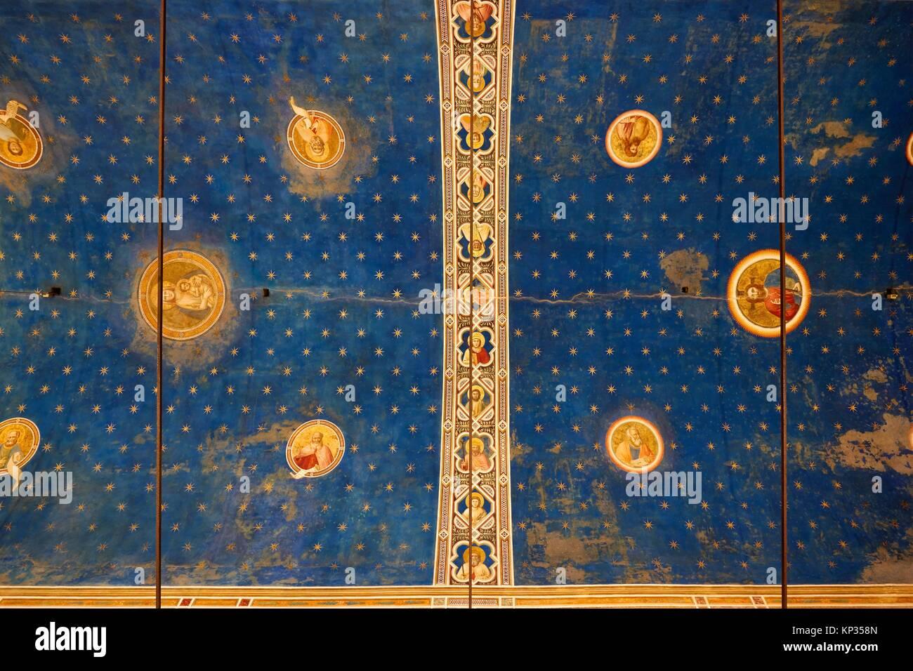 The interior of the Scrovegni Chapel in Padua, Italy, frescoed by Giotto. The Scrovegni Chapel is a church in Padua, Stock Photo