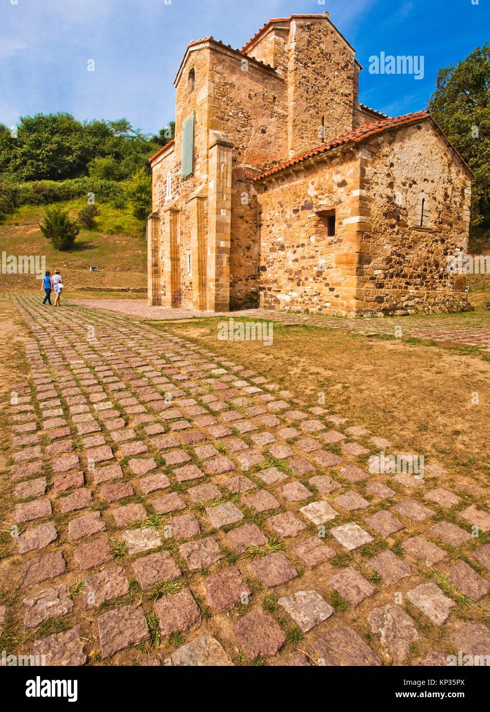 Church of St. Michael of Lillo, San Miguel de Lillo church, pre-romanesque, 9th Century, Oviedo, Asturias, Spain - Stock Image