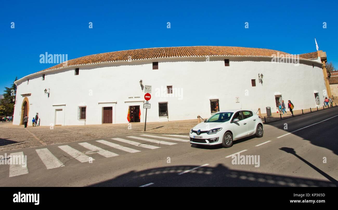 The bullring and Real Maestranza De Caballería De Ronda, Plaza de toros, Ronda, White Towns, Malaga province, - Stock Image