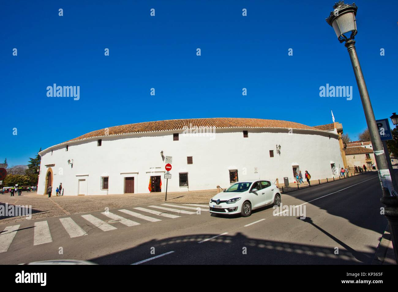 The bullring and Real Maestranza De Caballería De Ronda, Plaza de toros, Ronda, White Towns, Malaga province, Andalusia, Stock Photo