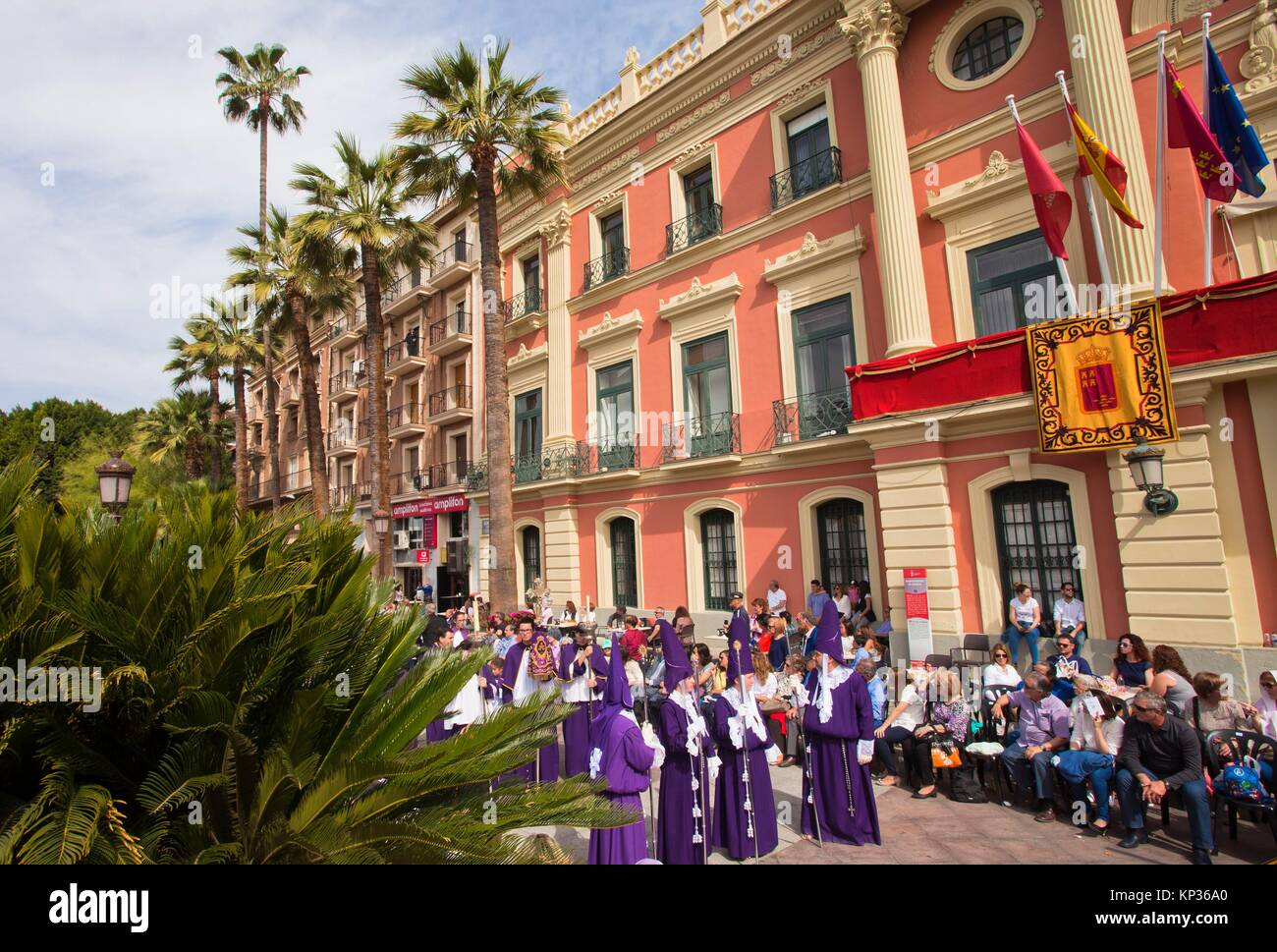 Brotherhood of Our Father Jesus Nazarene better known as the Salzillos, Good Friday, Town hall located in the La - Stock Image