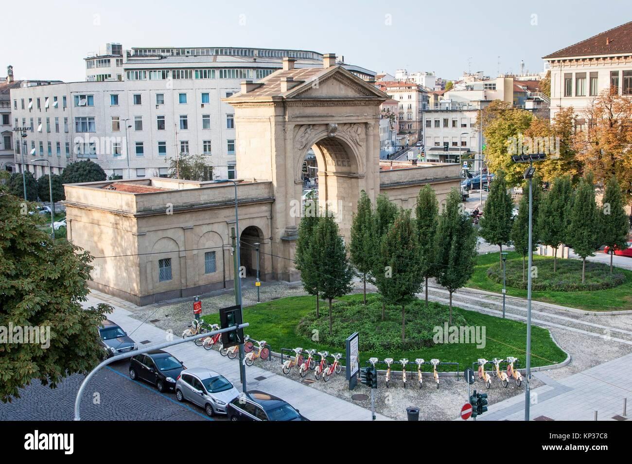 Porta Nuova, Principessa Clotilde square, Milan, Lombardy, Italy. Stock Photo