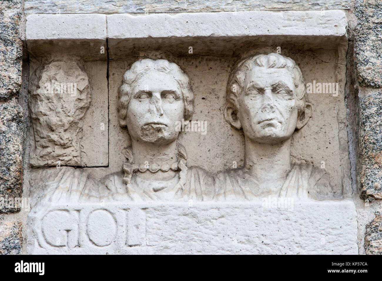 Detail of Porta Nuova, Plaza de La Scala, Milan, Lombardy, Italy. Stock Photo