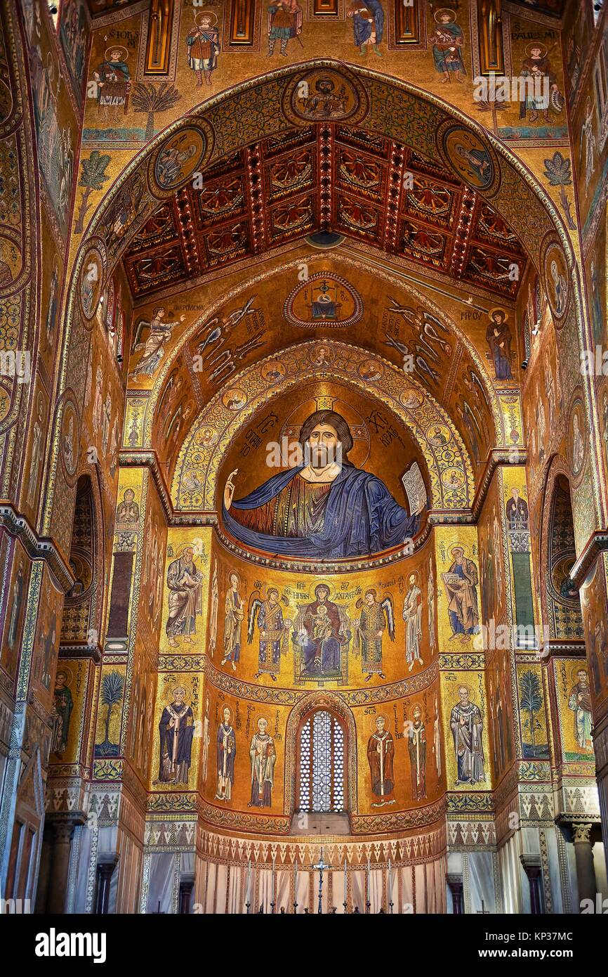 Christ Pantocrator mosaics of the Norman-Byzantine medieval cathedral of Monreale, province of Palermo, Sicily, Italy. Stock Photo
