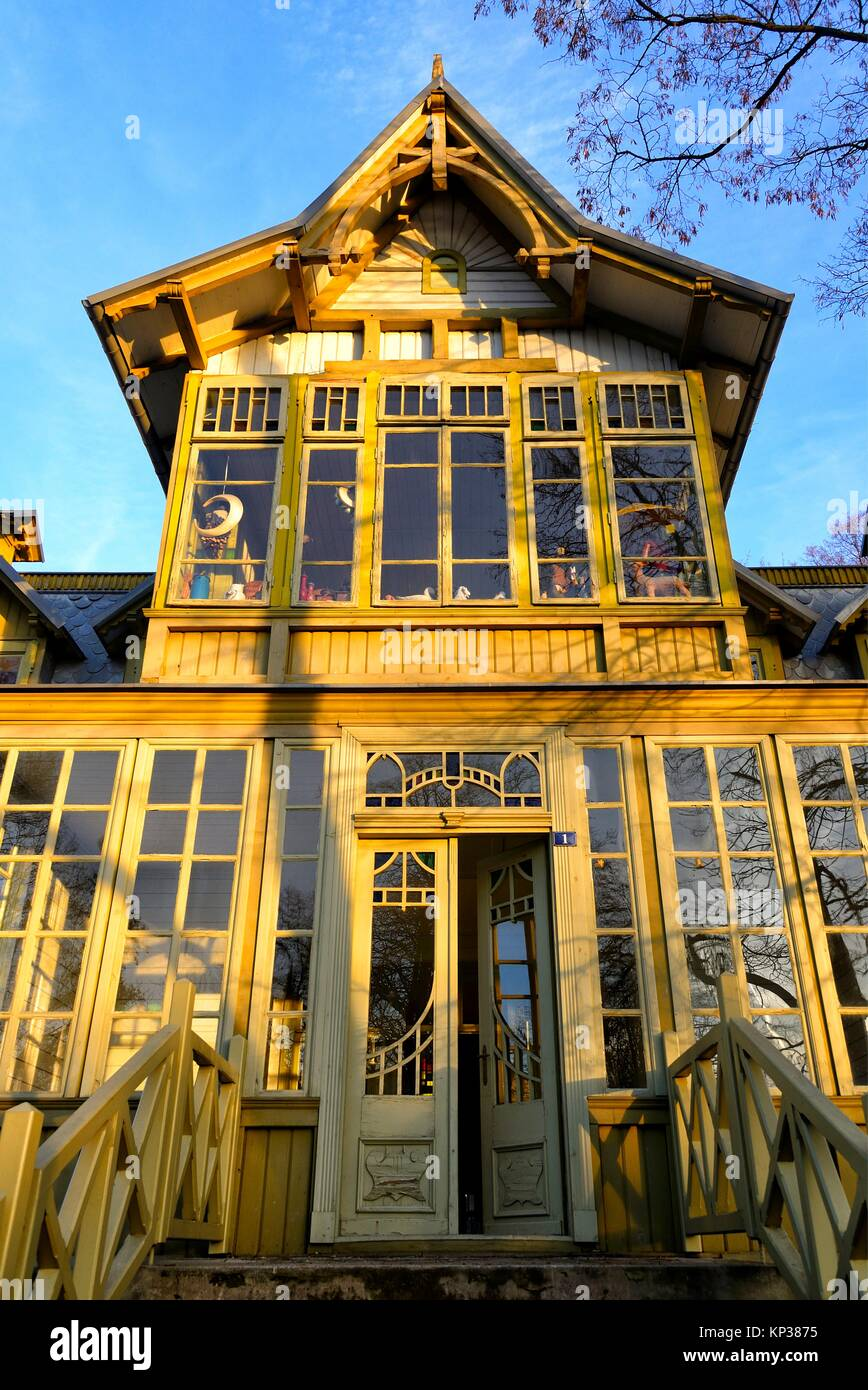 Open-air Museum of Lodz Wooden Architecture, integral part of Central Museum of Textiles in historic building of - Stock Image