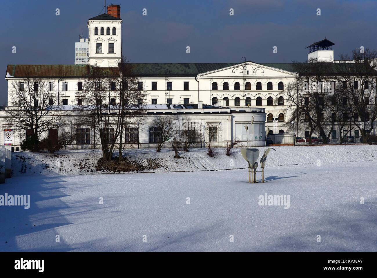 Winter urban landscape of Lodz, White Factory - Biala Fabryka, constructed in years 1835-1839 to host textile factory - Stock Image