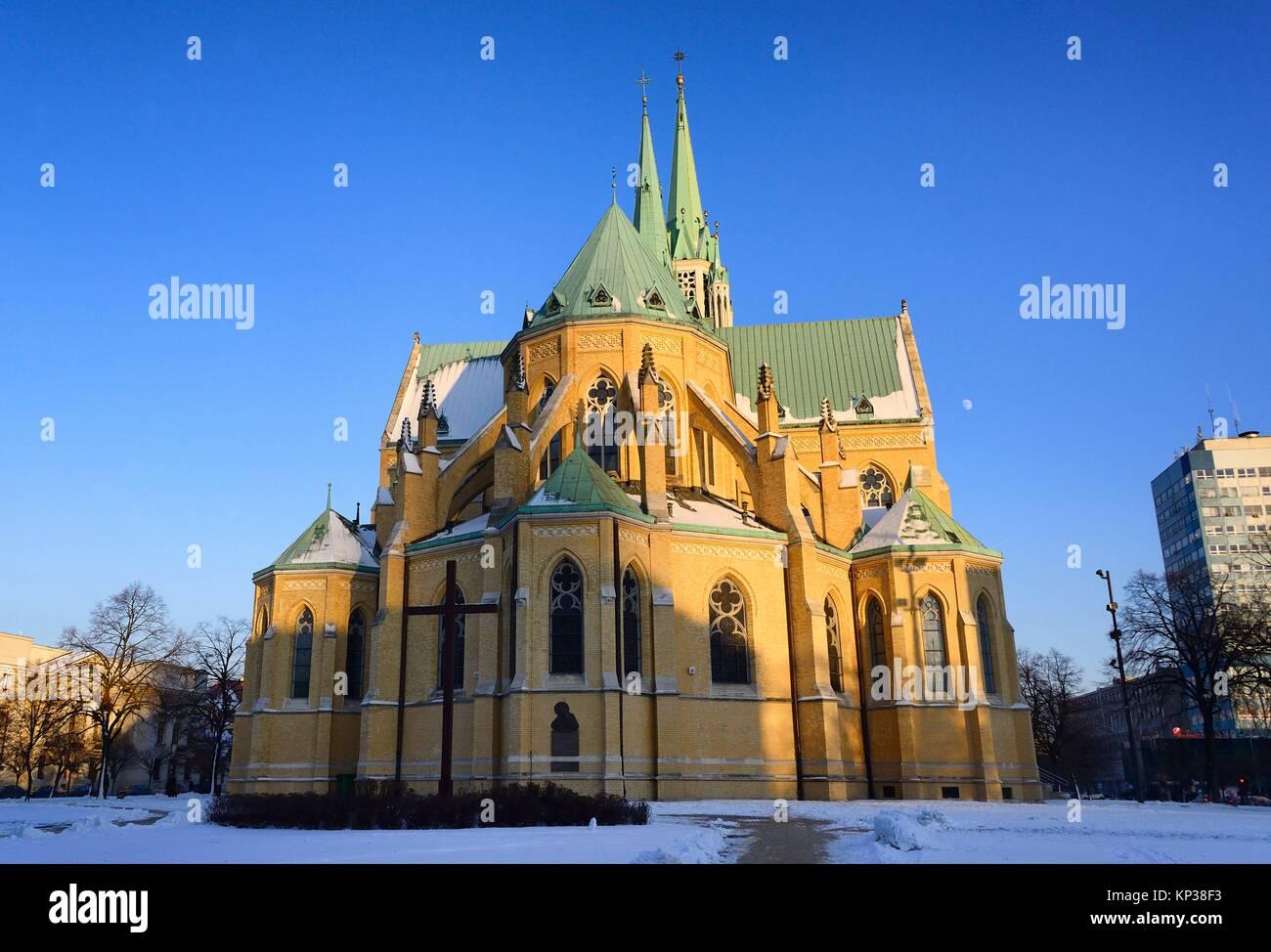 Archcathedral Basilica of St. Stanislaus Kostka in Lodz, Bazylika archikatedralna sw. Stanislawa Kostki w Lodzi, - Stock Image