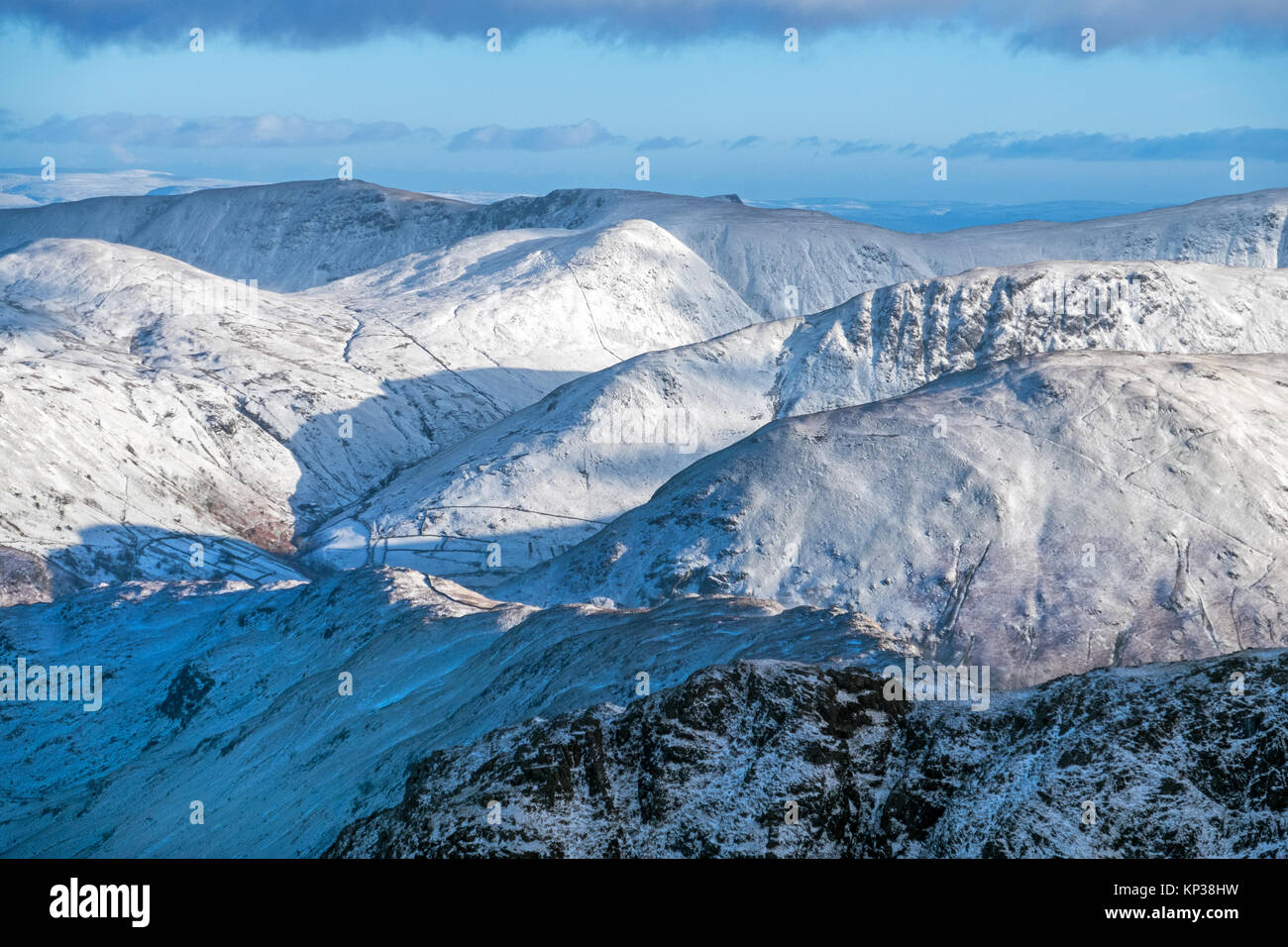 The Eastern Fells of the Lake District - The Knott, High Raise, High Street,Grey Crag,Hartsop Dodd - in winter - Stock Image