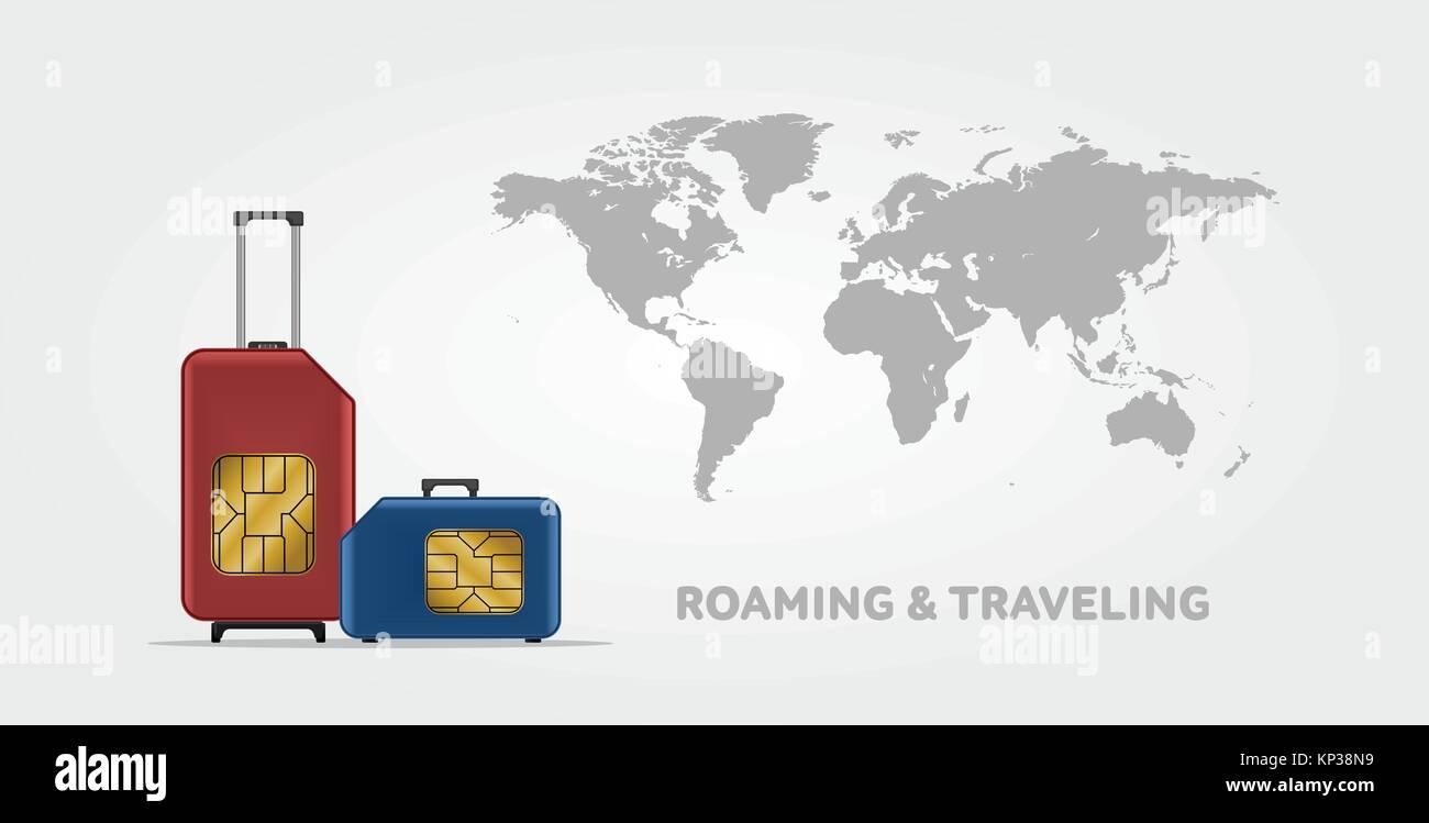 Travel sim vector illustration on blue radial gradient background travel sim vector illustration on blue radial gradient background roaming luggage world map gumiabroncs Choice Image