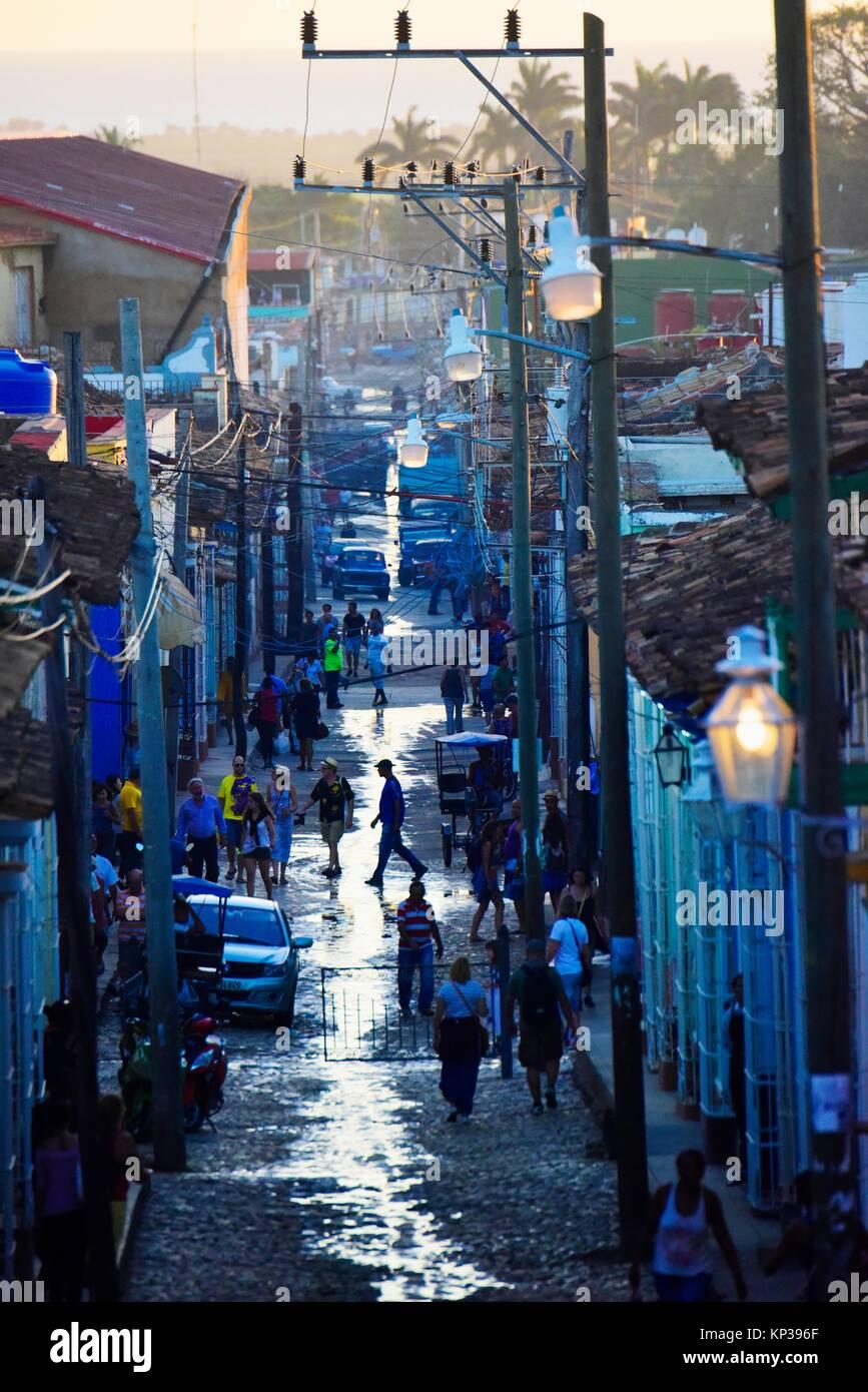 A Street scene in Trinidad, Cuba. - Stock Image